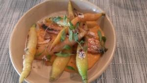 Caramelized Carrots, Guajillo Chile, Coconut, Pepita Brittle