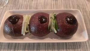 Syrah Grapeskin Flour Pork Buns, Hoisin, Quick Pickled Cucumber